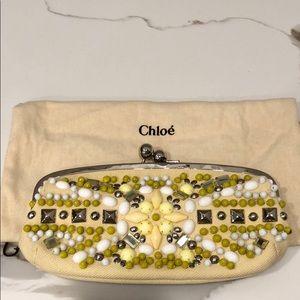 Chloe Cream Yellow Canvas Bead Kiss Lock Clutch